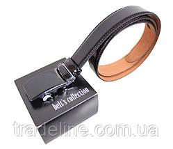 Мужской кожаный ремень Dovhani MJ0007-5850 115-125 см Черный, фото 3