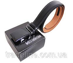 Мужской кожаный ремень Dovhani MJ0007-6851 115-125 см Черный, фото 3
