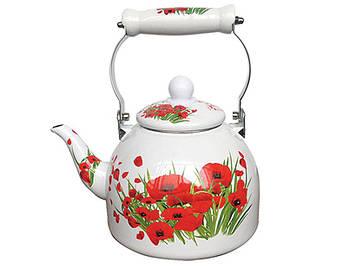 Емальований чайник Zauberg 41L  керамічна ручка 2л Маковий букет