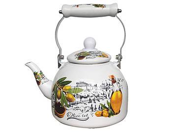 Емальований чайник Zauberg 39L  керамічна ручка 2л Оливки