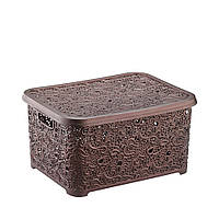 Корзина для хранения Ажур, темно-коричневый 6л, 21x29x12,5см Elif plastik 374-5LF