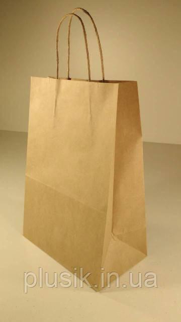 Пакет паперовий з ручками 29х23х12 коричневий №4 (25 штук)