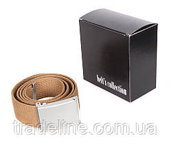 Мужской текстильный ремень Dovhani YK0039-2704-555 115 см Бежевый, фото 2