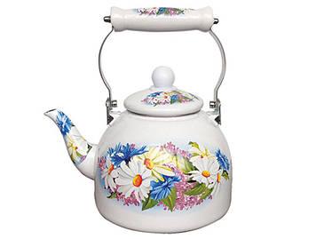 Емальований чайник Zauberg 37L  керамічна ручка 2л Ромашка