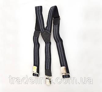 Підтяжки чоловічі Dovhani P001-4BLWGREY-555 Чорні-Сірі