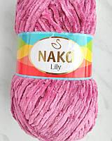 Плюшевая тонкая пряжа Nako Lily цвет роза №2970