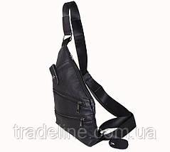 Мужская кожаная сумка Dovhani R1901-1BLACK -111 Черная, фото 3