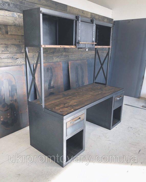 Рабочий стол LOFT DESIGN 63880, НАТУРАЛЬНОЕ ДЕРЕВО, мебель Лофт Производство в Киеве
