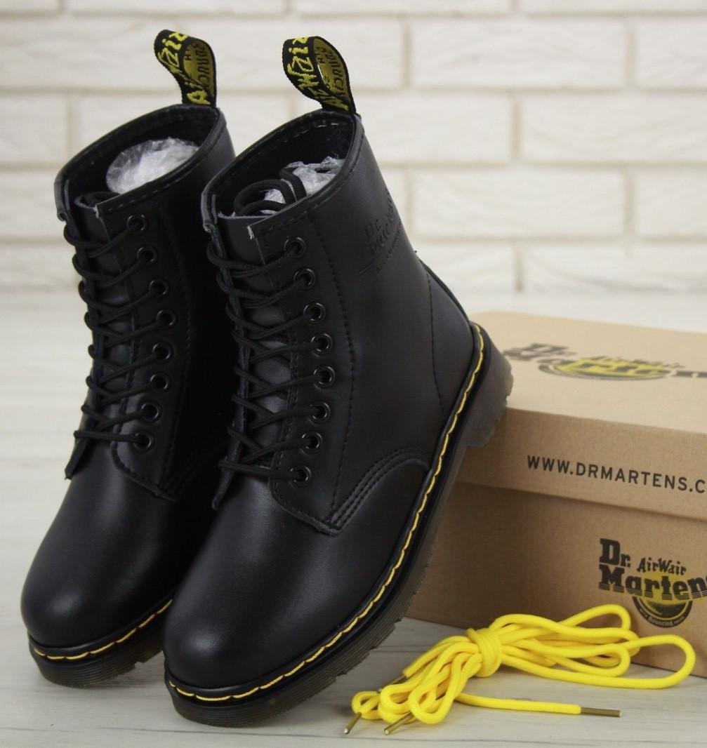 Женские зимние ботинки Dr.Martens 1460 Black Smooth VEGAN Fur, Доктор Мартинс черные с мехом