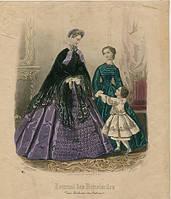 Гравюра Моды Парижа 1863 год