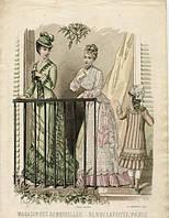 Гравюра Моды Парижа 1877 год