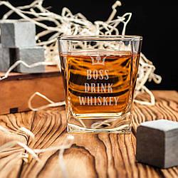 """🥃 Стакан для виски с принтом """"Drink whiskey"""" квадратный. Подарочный стакан для виски"""