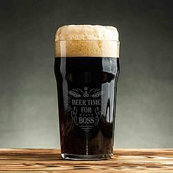 """🍺 Бокал для пива з написом """"Beer time for boss"""". Пивний бокал подарунковий, на подарунок, для пива"""