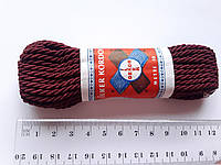 Шнур текстильний декоративний, бордовий.  Діаметр 4 мм.  Моток 9.5-10 метрів. Туреччина., фото 1