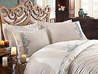 Комплект постельного белья Dantela Vita сатин с вышивкой Embroidered Olivia mint ментоловый Двуспальный евро комплект