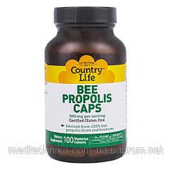 Пчелиный прополис, 500 мг, 100 капсул, Country Life