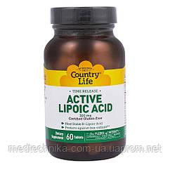 Липоевая кислота, 300 мг, 60 таблеток, Country Life