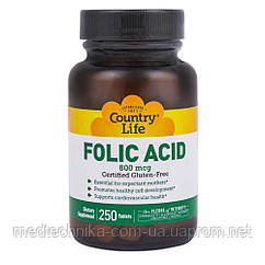 Фолиевая кислота, 800 мкг, 250 таблеток, Country Life