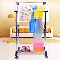 Вешалка стойка для одеждыDouble Pole Miniдвойная, телескопическая с полкой для обуви