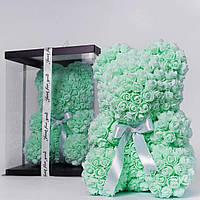 Мишка из роз в прозрачной подарочной коробке, 40 см ментоловый. Сделан в Украине - 140162