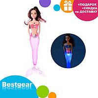 Кукла для девочек A 009-7 Русалка со светло-розовым светящимся хвостом   русалочка   светящаяся куколка