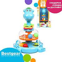 Детская игрушечная юла Бегемотик с погремушками SL83058-59-60 | игрушка для самых маленьких