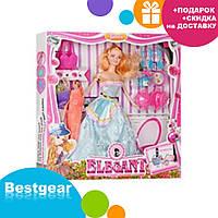 Кукла 053 D с длинными волосами, в нарядном платье, + посуда в коробке | куколка для девочки