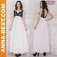 """Вечернее, выпускное нарядное платье черное с белым """"Муза"""""""