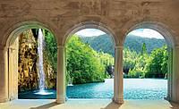 Фотообои флизелиновые 3D природа 312х219 см : Водопад за арками (436.20825)