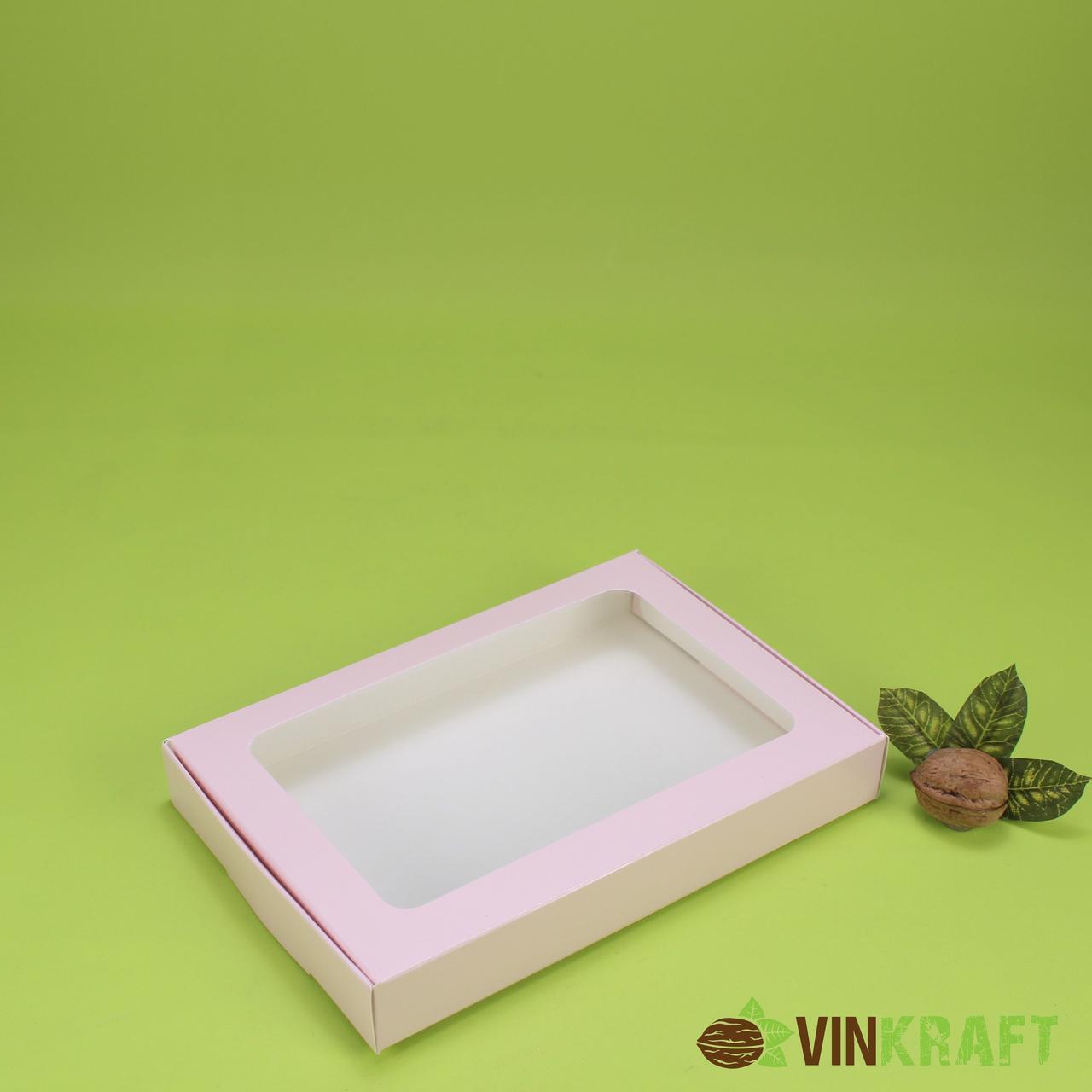 Коробка 220*150*30 для пряника з вікном, пудра