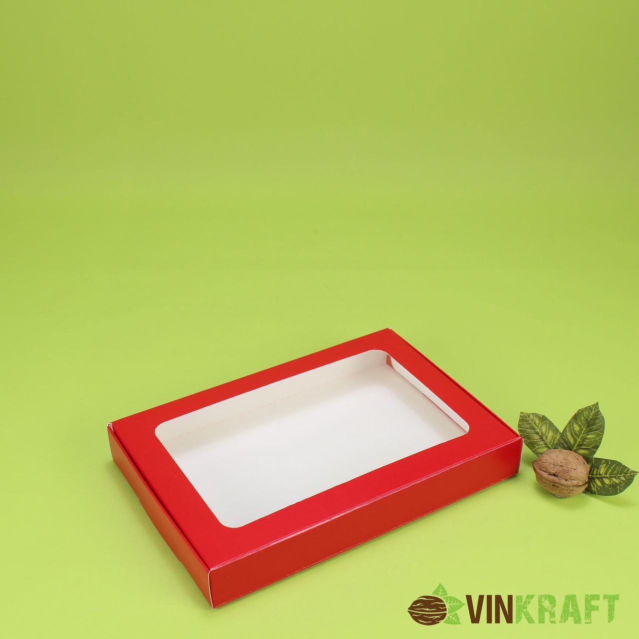 Коробка 220*150*30 для пряника с окном, красная