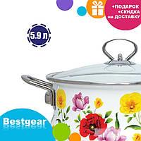 Эмалированная кастрюля с крышкой Benson BN-120 белая с цветочным декором (5.9 л) | кухонная посуда | кастрюли