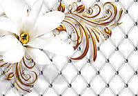 Фотообои флизелиновые 3D 312х219 см Серебряный узор и большой цветок (10306CN)