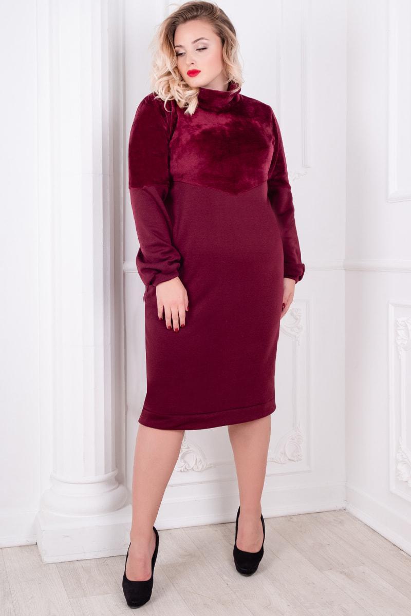 Батальное платье с мехом Эмбра, бордовое