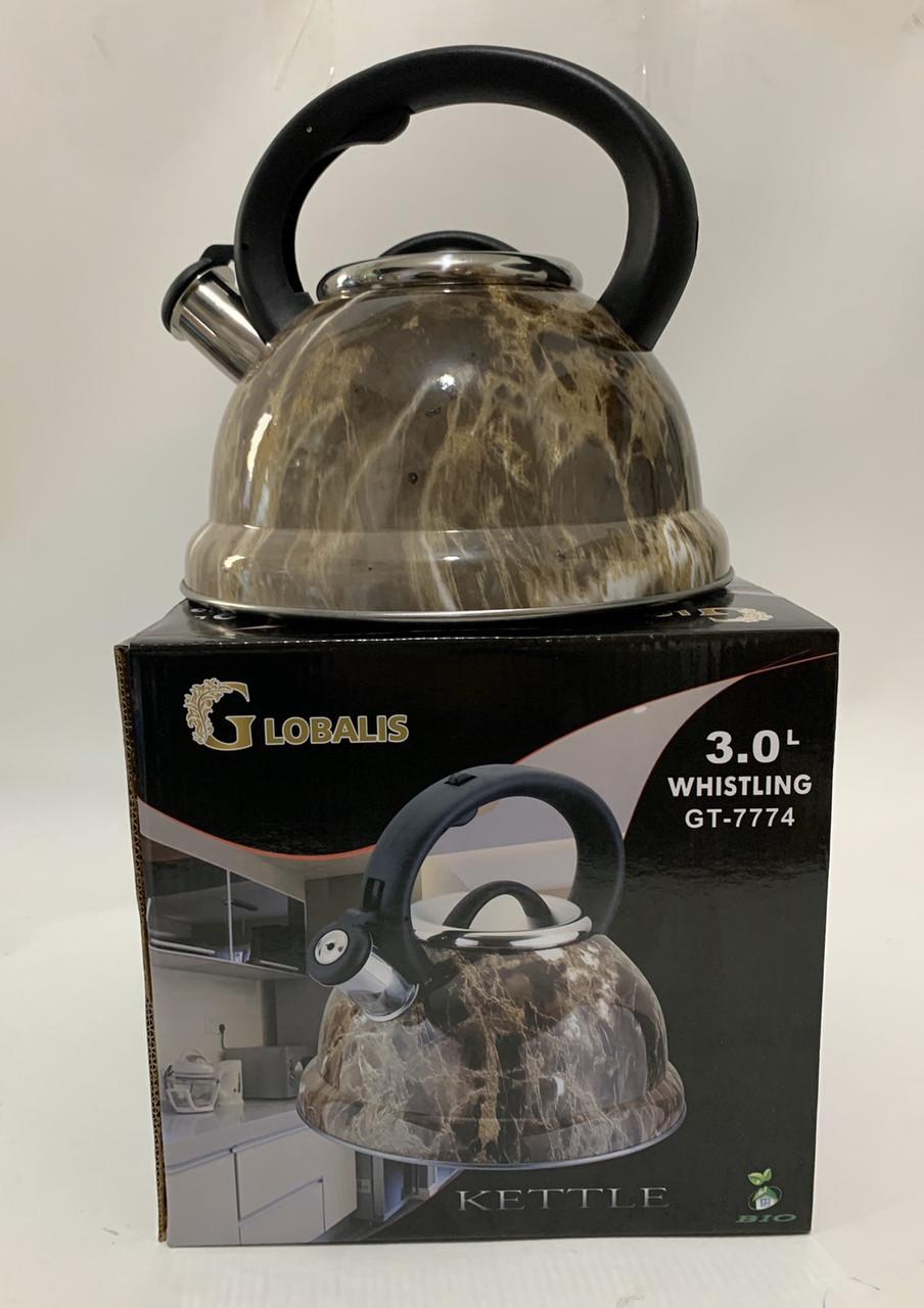Чайник металлический GLOBALIS Мрамор 3 литра