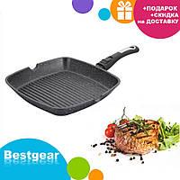 Сковорода-гриль мраморное покрытие Benson BN-311 (28*28*4 см)   сковородка со съемной ручкой SOFT TOUCH