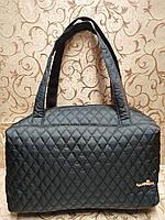 Стеганая сумка женская тканевая черная спортивная легкая 116508