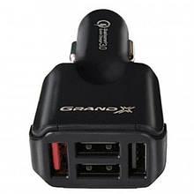 Автомобильное зарядное устройство Grand-X (1хUSB3.1, 4хUSB3.1) QС3.0, 42W Black (CH09BM) + кабель microUSB
