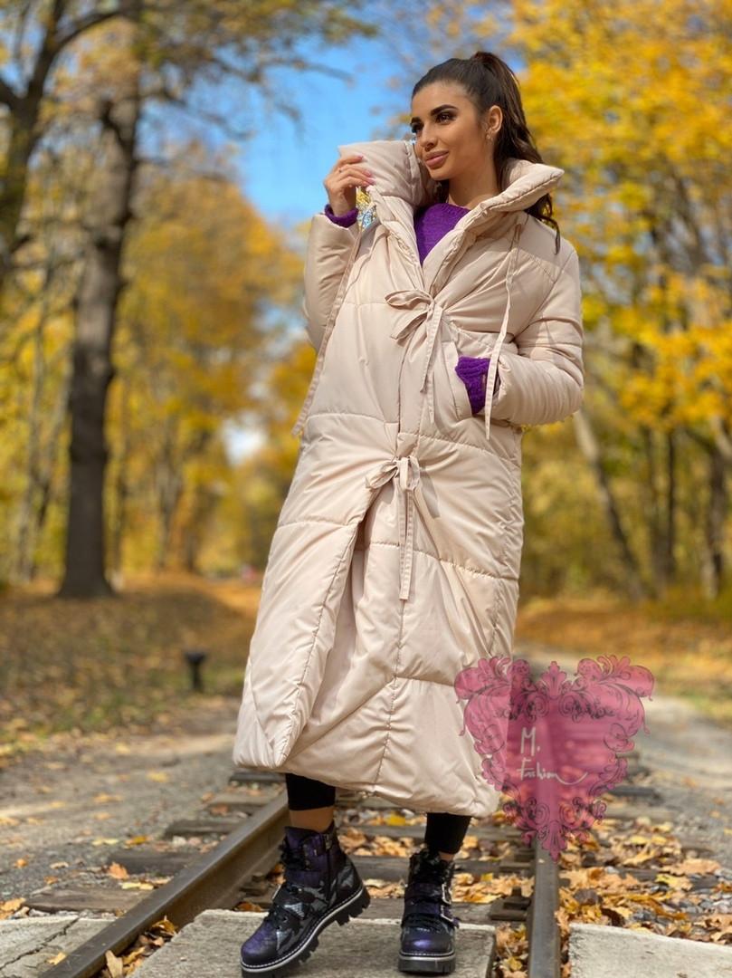 Зимнее плащевое женское пальто на завязках vN5194