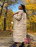 Зимнее плащевое женское пальто на завязках vN5194, фото 2