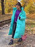 Зимнее плащевое женское пальто на завязках vN5194, фото 3