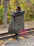 Зимнее плащевое женское пальто на завязках vN5194, фото 4