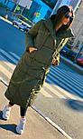 Зимнее плащевое женское пальто на завязках vN5194, фото 7