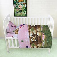 Постельное белье детское, комплект HalfTones в кроватку, для новорожденных, хлопок, 100*140см на молнии