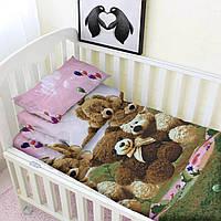 Постельное белье детское, комплект детский HalfTones в кроватку, для новорожденных, хлопок,100*140см на молнии