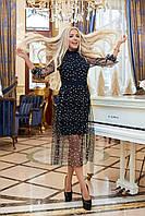 Женское вечернее платье крепдайвинг сетка черное бутылка синее марсала 42-44 46-48, фото 1