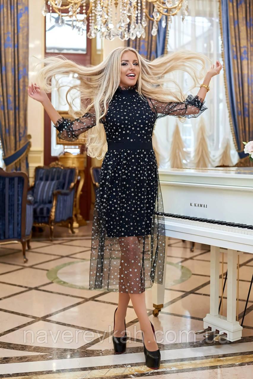 Женское вечернее платье крепдайвинг сетка черное бутылка синее марсала 42-44 46-48