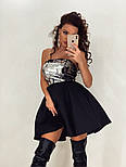 Платье с пышной юбкой из неопрена и открытым верхом из пайетки без рукава vN5222, фото 2