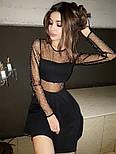 Черное платье с пышной юбкой и вставками сетки на талии и груди vN5224, фото 2