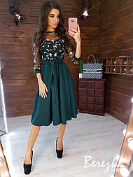 Платье с пышной юбкой миди и кружевным верхом vN5239